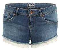 Denim Shorts mit Spitze blau