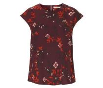 Leichte Bluse mit Allover Blumen Print rosa / rot / rotviolett / schwarz