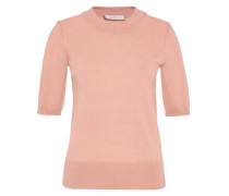 Halbarm-Pullover aus feingestrickter Wolle pink