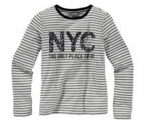 Langarmshirt mit Pailletten für Mädchen graumeliert / schwarz