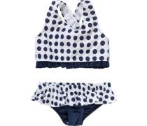 Kinder Bikini mit UV-Schutz dunkelblau / weiß