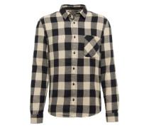 Hemd 'flannel Check' beige / schwarz