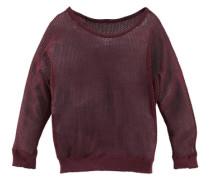 Pullover in Lochstrickoptik weinrot