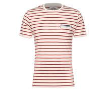 Shirt 'engineered Tipping Breton Tee' weiß / rot