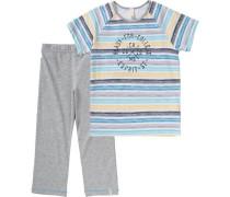 Schlafanzug für Jungen türkis / graumeliert