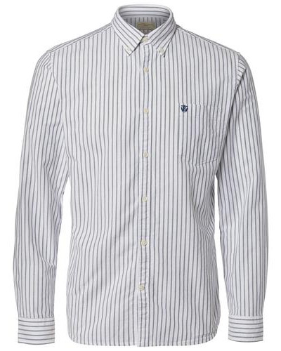 Oxford-Langarmhemd marine / weiß