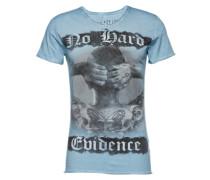 T-Shirt 'MT Evidence v-neck' hellblau / grau