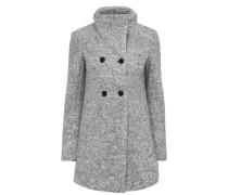 Woll-Mantel graumeliert / schwarz