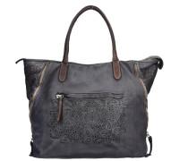 Shopper Tasche Leder 40 cm grau