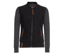 Jacket 'Gib Ma Deine Numma' braun / schwarz / schwarzmeliert