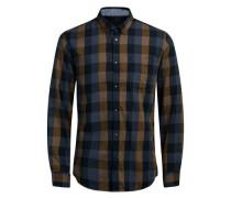 Flanell-Hemd nachtblau / braun