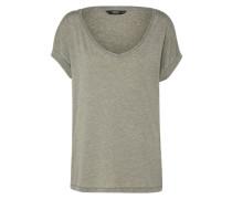 T-Shirt in melierter Optik khaki