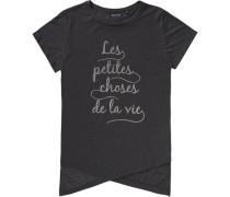 T-Shirt für Mädchen dunkelgrau / graumeliert / silber