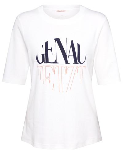 Shirt 'T-shirt with print' blau / weiß
