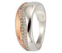 Ring mit Zirkonia rosegold / silber