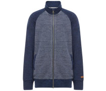 Strickjacke Woll- blau / grau