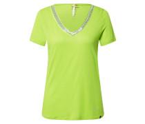 T-Shirt 'Mila' silbergrau / neongrün