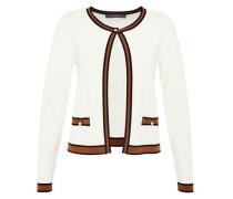 Cardigan mit gestreiften Kontrastblenden braun / schwarz / weiß