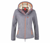 Winterjacke 'hooded Sherpa Windtrekker' grau / orange