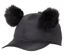Pompom-Pelz Cap schwarz
