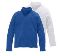 Rollkragenshirt (2 Stück) blau / weiß