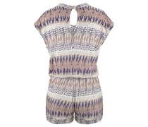 Strand-Jumpsuit hellbeige / lila / weiß