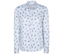 Langarm Bluse für grosse Frauen hellblau / weiß