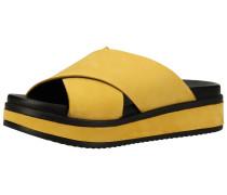 Pantoletten gelb / schwarz
