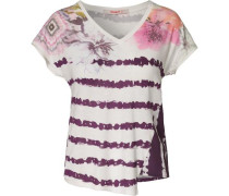 T-Shirt 'Cellia' lila / weiß
