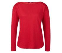 Slub-Shirt mit Spitze rot