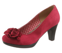 Trachten-Pumps mit Blumenapplikation rot