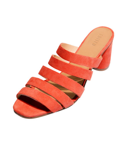 Pantolette 'Lissie' orangerot