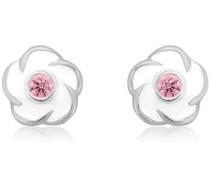 Paar Ohrstecker 'Blumen' rosa / silber