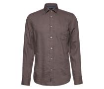 Hemd 'Spread collar with tape linen' schlammfarben