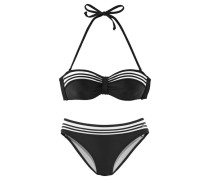 Bügel-Bandeau-Bikini schwarz / weiß