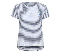 Detailreiches T-Shirt marine / weiß