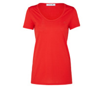 T-Shirt mit Label-Applikation rot