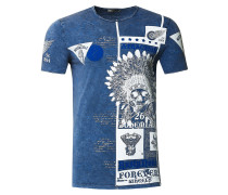 T-Shirt mit Oil Washed Skull All Over Front Print
