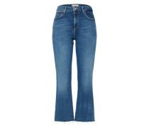 'cropped' Flared Jeans blau
