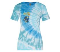 T-Shirt mit Patches türkis / mischfarben