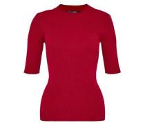 Rippstrick-Pullover mit Stehkragen rot