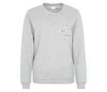 Pullover mit Aufnähern graumeliert