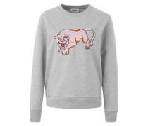 Sweater mit Stickerei graumeliert / rosa
