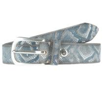 Ledergürtel MIT Metallic-Schlangenprint hellblau / silber