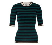 Blockstreifen-Pullover mit Lurex-Bündchen beige / dunkelgrün / schwarz