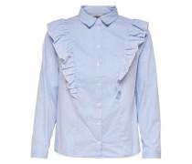 Rüschen-Langarmhemd blau / weiß