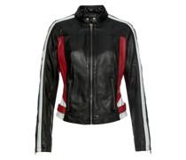 Lederjacke schwarz / weiß / rot