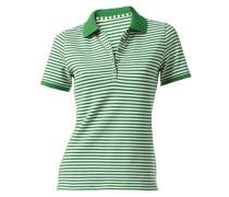 Pikee-Poloshirt geringelt Halbarm grün