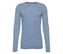 Pullover 'structured mouline crew neck' hellblau