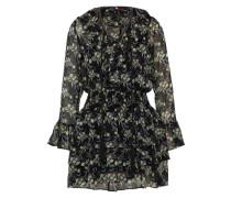 Kleid mit Rüschen hellgrün / schwarz